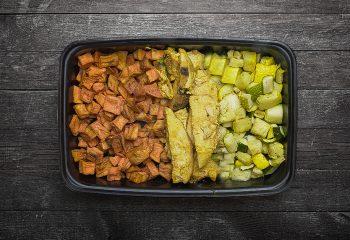 Golden BBQ Chicken, Honey Sweet Potatoes