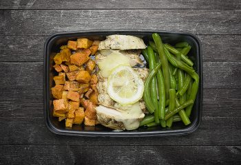 Lemon Pepper Chicken, Roasted Sweet Potatoes, Green Beans