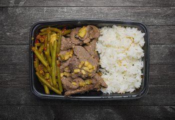 Beef Satay, Chili Green Beans, Jasmine Rice